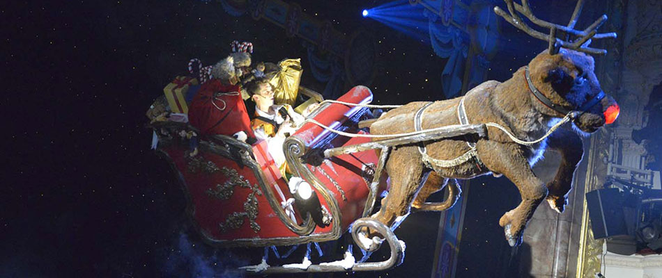 Rob the Reindeer and Sleigh flying - theatrical magic and illusion